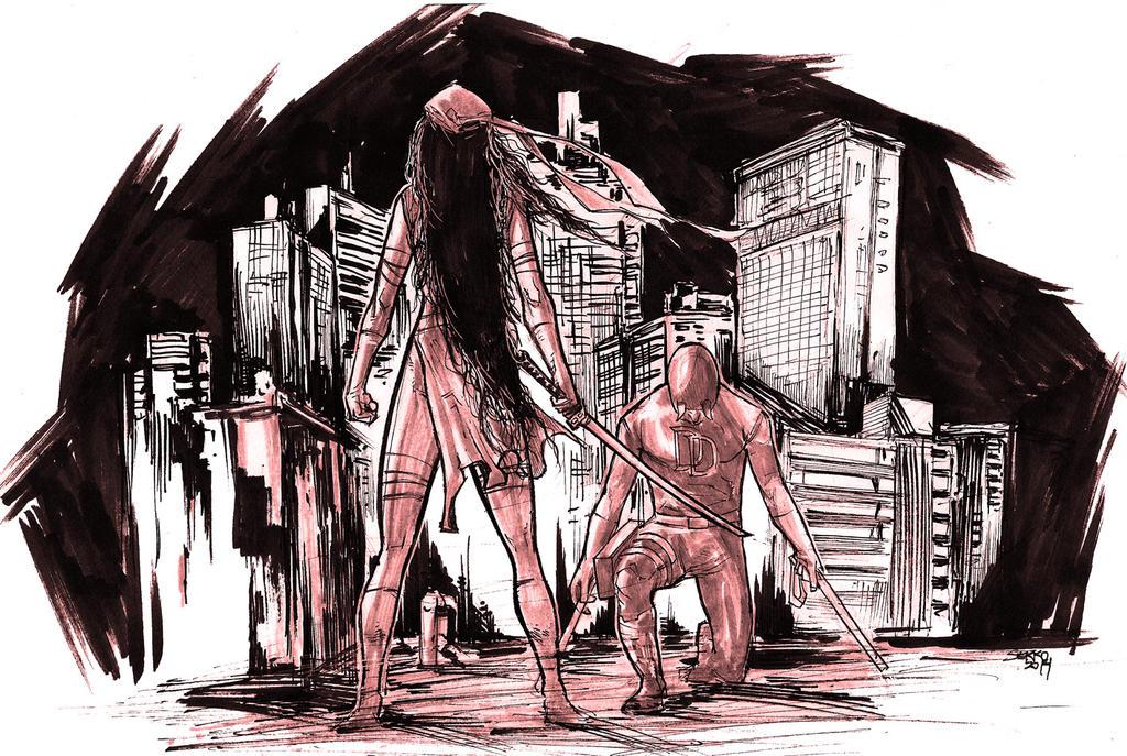 Elektra vs Daredevil by Carlossoares