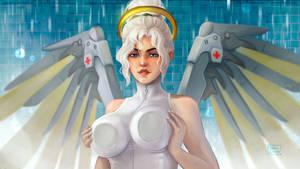 Mercy Overwatch in the shower by KhiaraDraws
