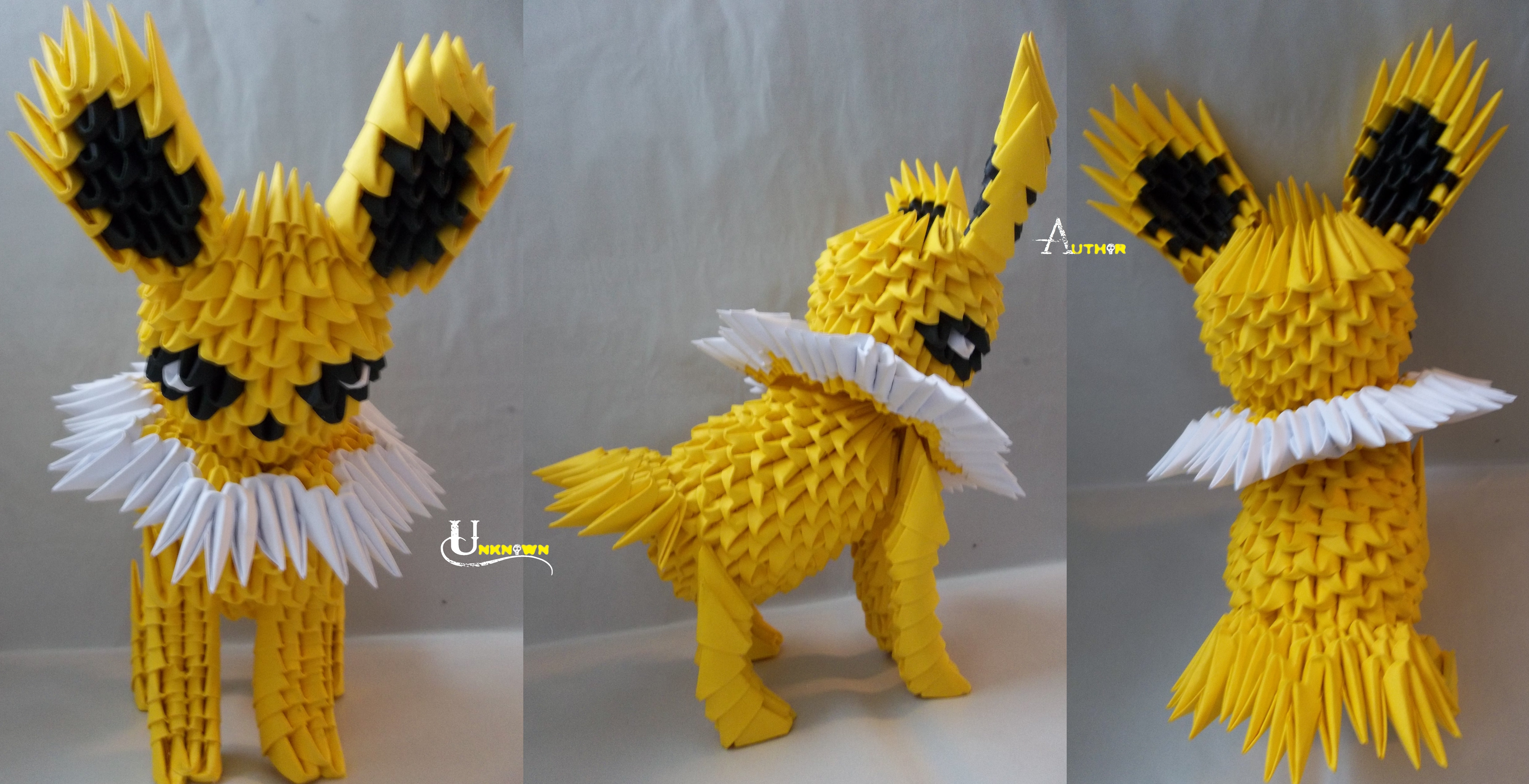3D Origami - Pikachu | Origami crafts projects, Origami art, 3d ... | 4400x8576