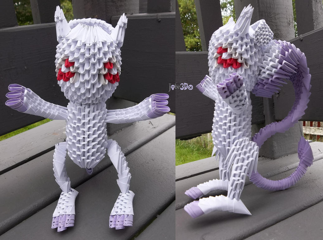 3D Origami - Mega Mewtwo (Y Form) by Jobe3DO