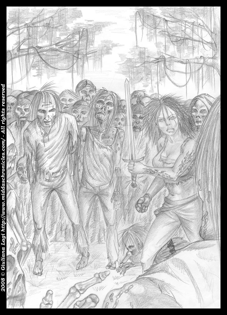 Midda vs zombies: the pencil version from Book I by middaschronicles