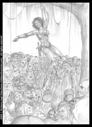 Midda vs zombies: an unpublished art from Book I