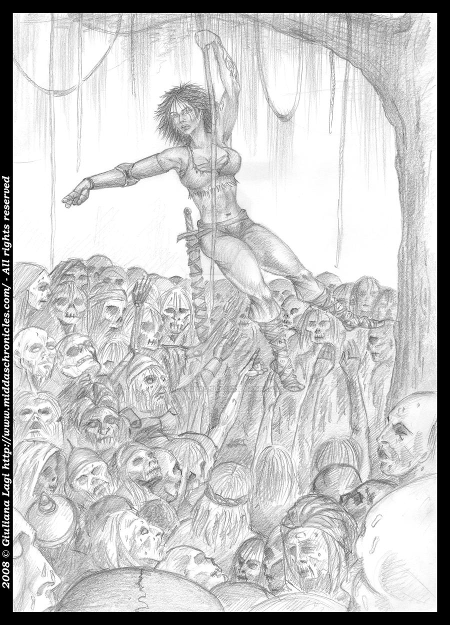 Midda vs zombies: an unpublished art from Book I by middaschronicles