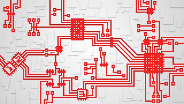 Wallpaper: White/Red Circuit Board