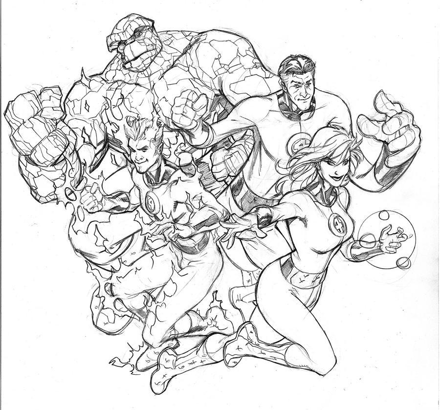 coloring pages fantastic four | Fantastic Four Pencil by TerryDodson on DeviantArt