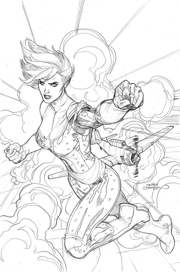 Captain Marvel #5 Cover Pencils by TerryDodson