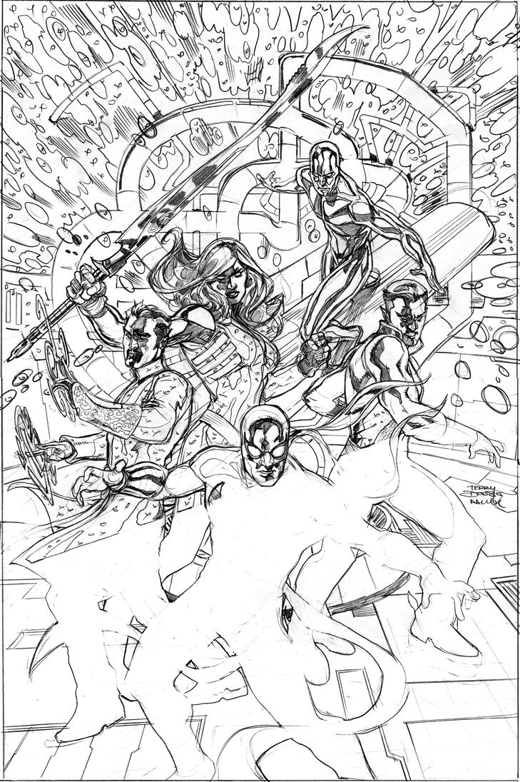 Defenders 9 Cover Pencils by TerryDodson