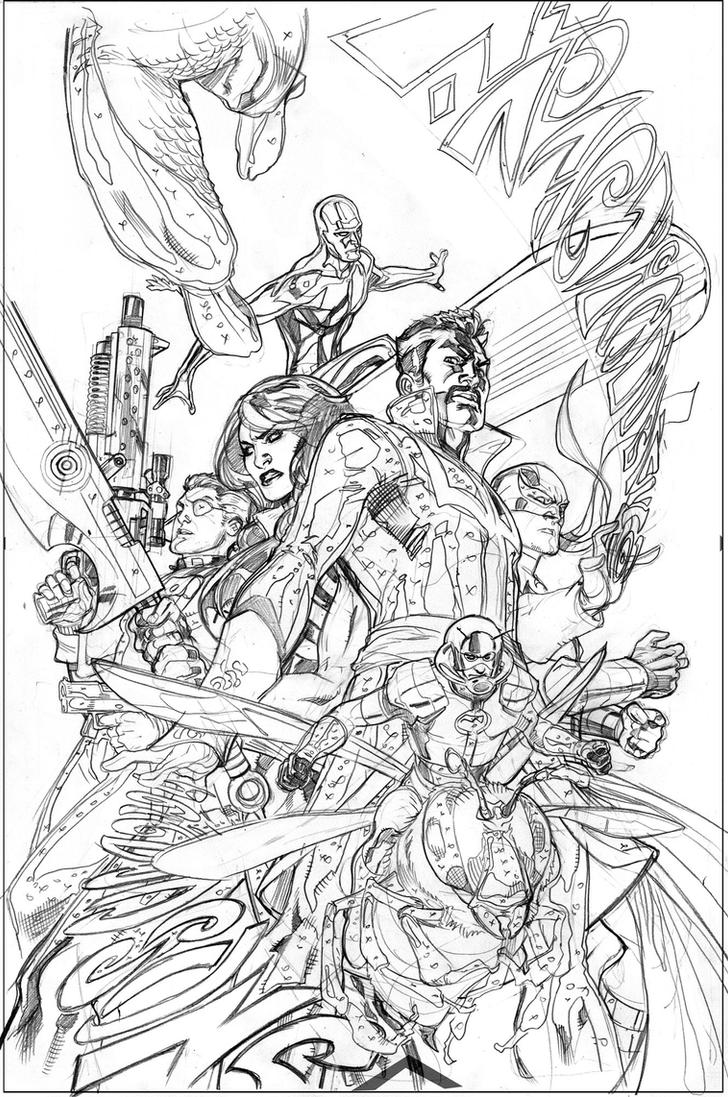 The Defenders #12 Pencils by TerryDodson