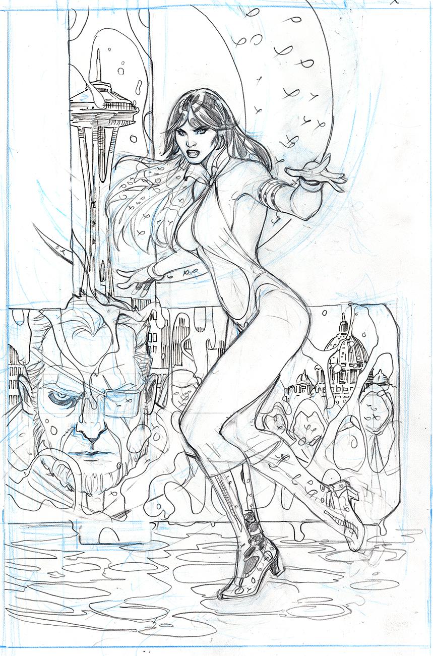 Vampirella 1 Cover Pencils by TerryDodson