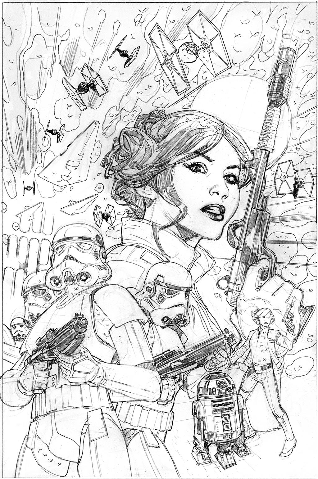 pencil coloring page - star wars princess leia 4 cover pencils by terrydodson
