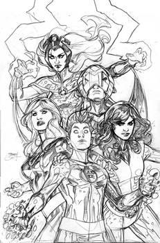 X-Men Fantastic Four 1 Cover Pencil