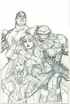 X-Men Fantastic Four 2 Cover Pencil