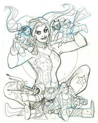 Harley Quinn and the Birds of Prey 4 Cover Pencils