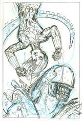 Black Widow 5 Alien Cover Pencils by TerryDodson