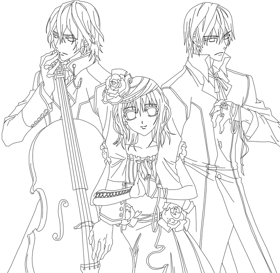 Vampire knight outline by yumetsukai182 on deviantart for Vampire knight coloring pages