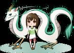 Spirited Away: Dragon Haku and Chihiro