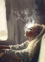 Smoking Girl by gromwulf