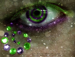 Eye with purple and green swirl by Purplequine