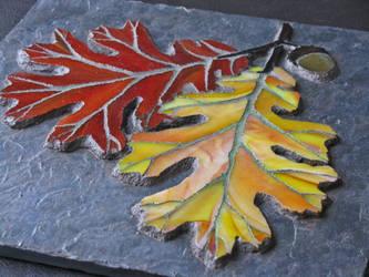 Oak Leaves on Slate 2 by sandevolver