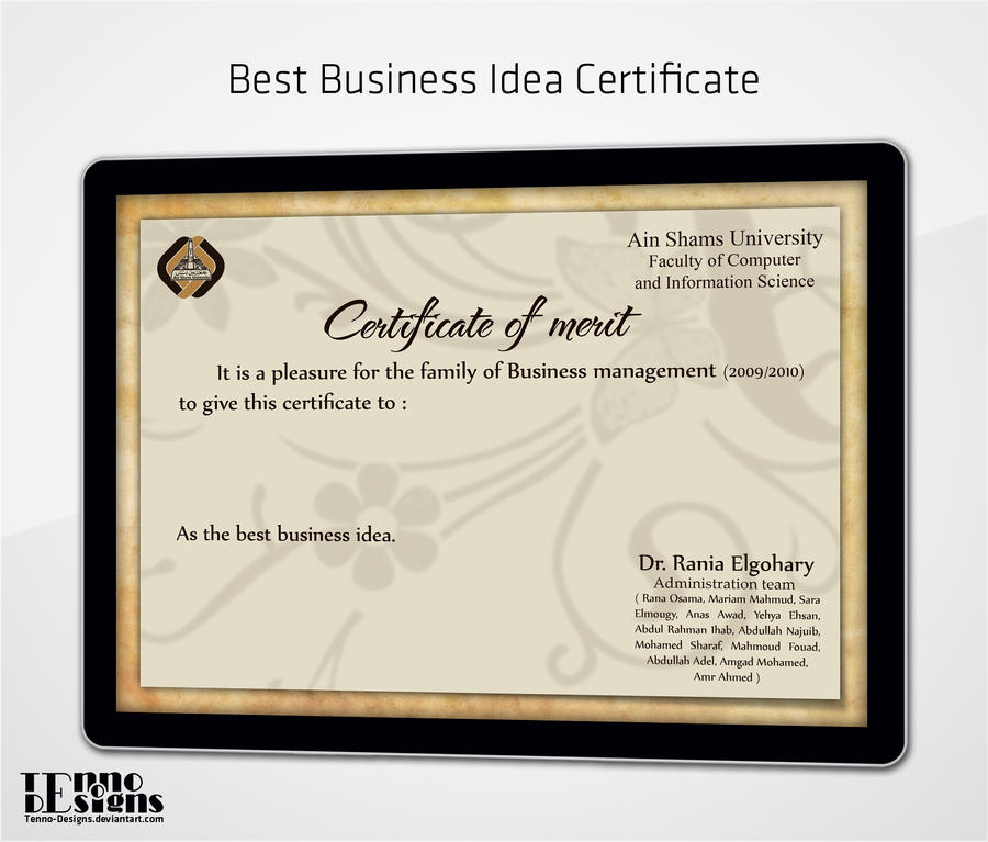 Best Business Idea Certificate by Tenno-Designs on DeviantArt