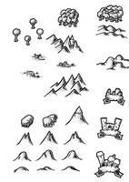 Black and White Map Symbols Overland 2