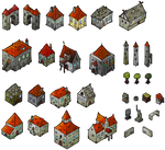 Medieval Houses Isometric Map Elements