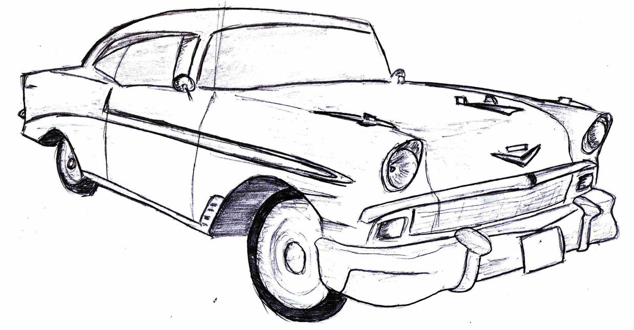 55 chevy bel air cartoon sketch coloring page