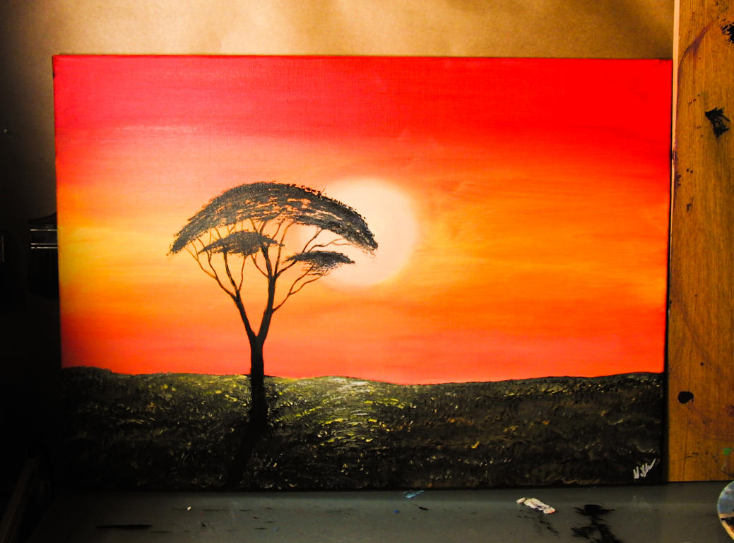 african sunset art
