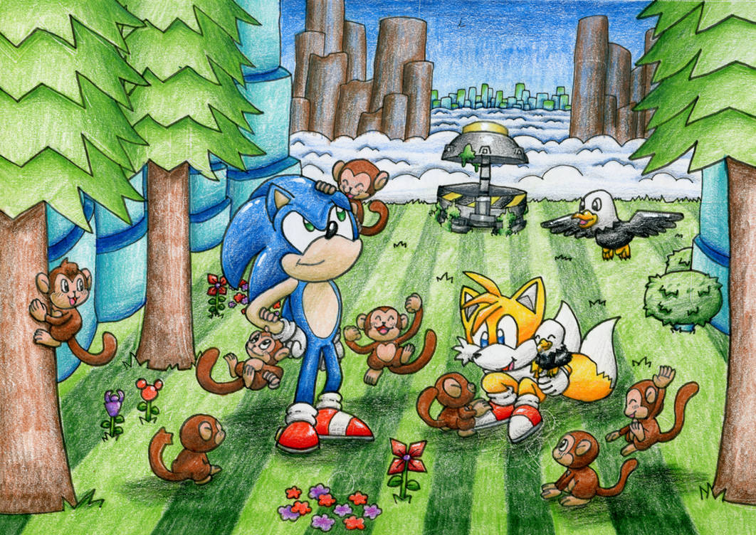 Sonic and Tails visiting their monkey friends