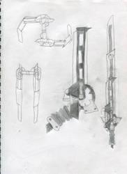 RWBY Weapon Design: Grinder Shivs by Noraneko-Sparks