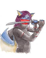 [Inktober2018] Ninja Aoijan by Lmih