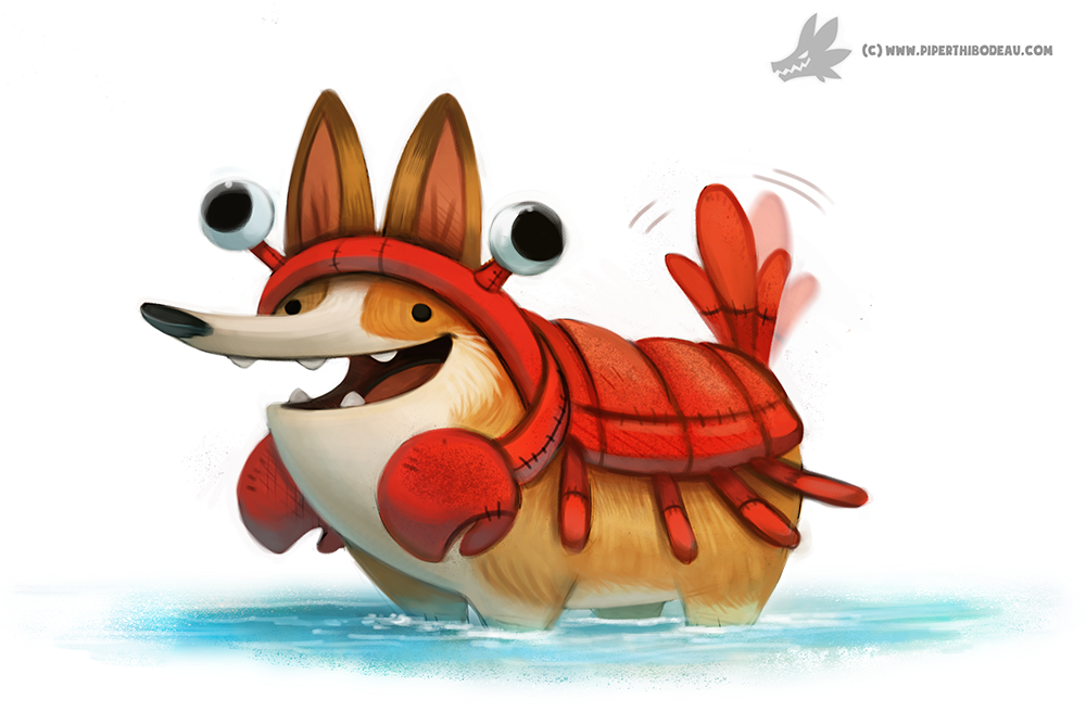 Daily Painting #915 - Corgi Lobster by Cryptid-Creations on DeviantArt