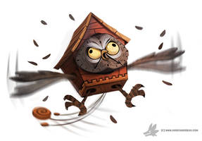 Daily Painting #921 Hoo Hoo Clock by Cryptid-Creations