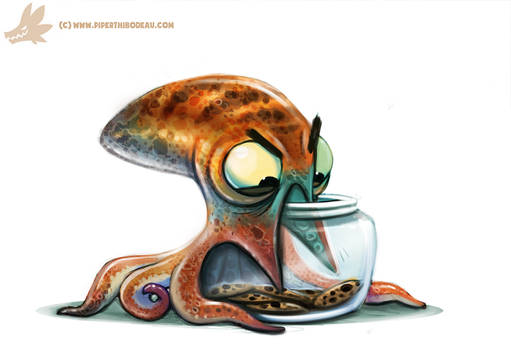 Daily Paint #986. Octopus vs. Cookie Jar (OA)
