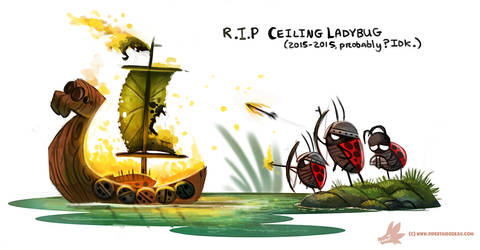 Daily Paint #997. R.I.P Ceiling Ladybug by Cryptid-Creations