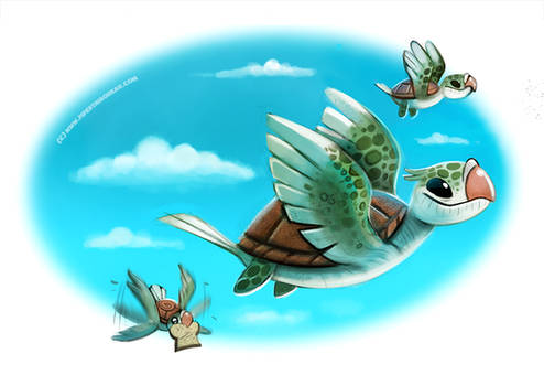 Daily Paint #1003. Turtle Doves