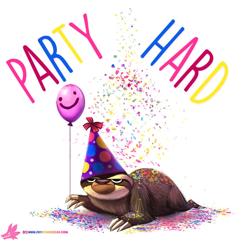 Daily Paint #1006. Party Sloth!