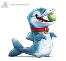 Daily Paint #1011. Dogphin....wow that pun hurts by Cryptid-Creations