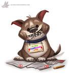 Daily Paint #1022. Homework Shredder