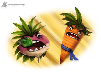 Daily Paint #1025. Kakarot vs. Radish - DBZ