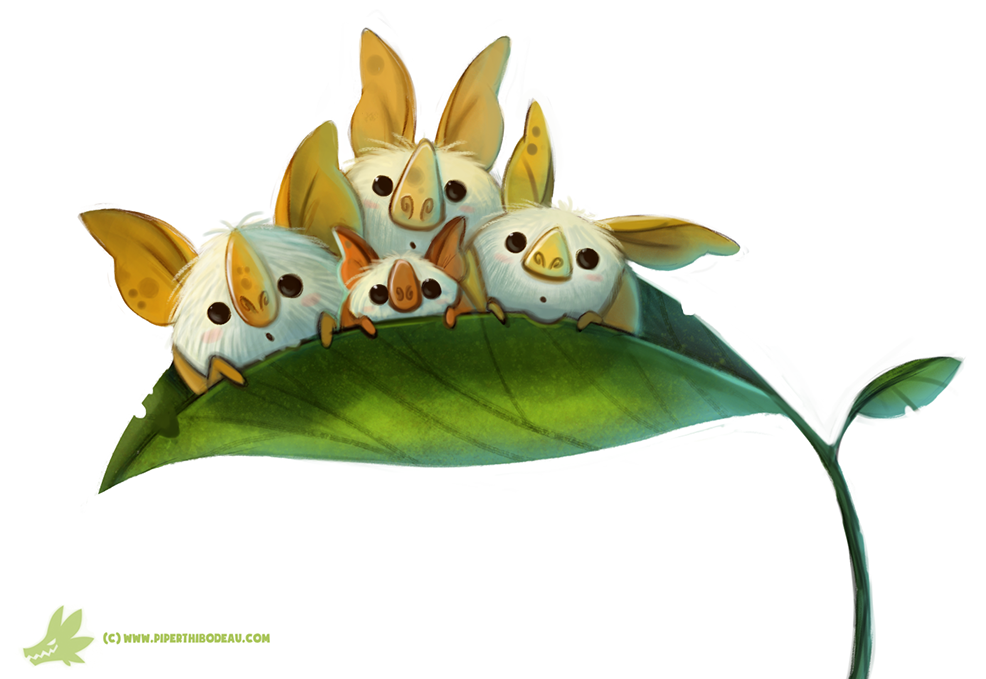 Daily Paint 1048 Honduran White Bats By Cryptid Creations