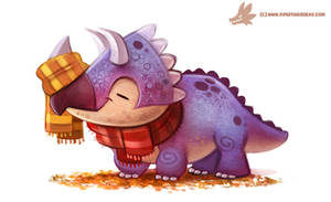 Daily Paint #1052. Autumn Dinos - Triceratops