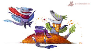 Daily Paint #1056. Autumn Dinos - Raptor Pile