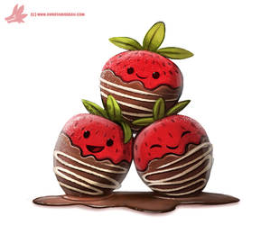 Daily Paint #1059. Chocolate Strawberries by Cryptid-Creations