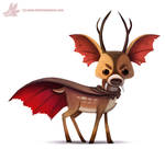 Daily Paint #1071. Vampire Deer...they exist
