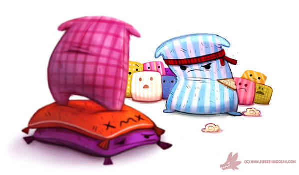 Daily Paint #1084. Pillow Fight Club