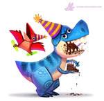 Daily Paint #1087. Birthdaysaurus