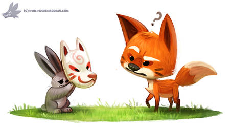 Daily Paint #1092. Kitsune Mask
