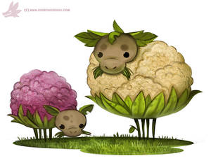 Daily Paint #1096. Cauliflower Sheep