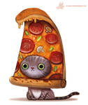 Daily Paint #1103. Pizza Cat